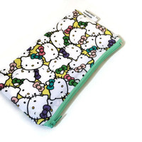 Hello Kitty Zippered Pouch - Cute Pencil Case - Small Cosmetic Bag - Zipper Wallet - Cute wallet - Girl Accessory - Kids Wallet - Kawaii
