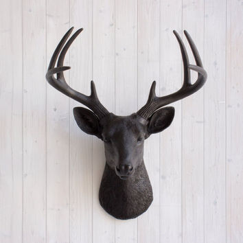 The Virginia Large Black Faux Taxidermy Resin Deer Head Wall Mount | Black Stag w/ Colored Antlers
