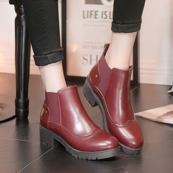 Korean Winter Vintage Round-toe High Heel Dr Martens Ankle Boots [9432939594]
