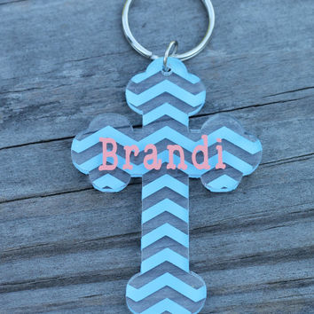 Chevron Cross Key Chain with Name