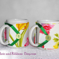 Flowers Cup Cozies. Handmade cup cozies. Cotton fabric cup cozies. Set of 2 fabric cup cozies.