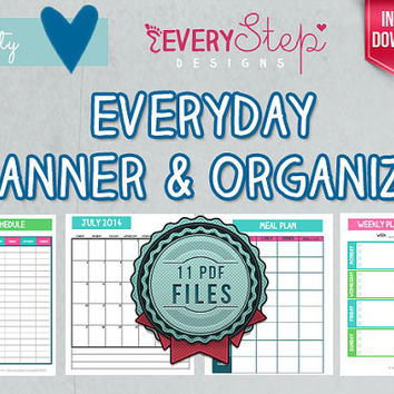 Everyday Planner & Organizer PRINTABLE - 11 DOCUMENTS - Monthly/Weekly/Daily (Meal Planner Included)