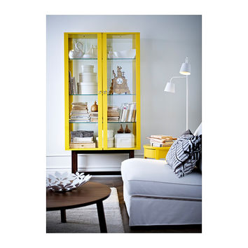 STOCKHOLM Glass-door cabinet - yellow - IKEA