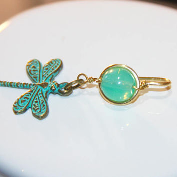 Opal Belly Button Ring, Green Belly Button Ring, Dragonfly Belly Button Ring, Gold Belly Button Ring, Handmade Jewelry, Birch Bark Design