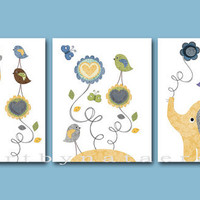 "Baby Nursery Decor, Baby Nursery Art, Baby Boy Room Decor, Nursery print, set of 3 11"" x 14"" ,birds, giraffe ,elephant, flower, decoration"