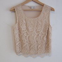 FOR FOREVER NEW LOVER! Nude Lace Cropped Tank Top 6 8