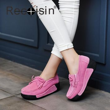 RECOISIN Spring Autumn Women Casual Shoes Suede Genuine Leather Platform Flats Tassel