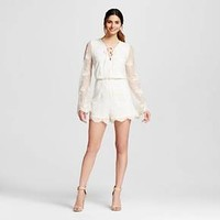 Women's Embroidered Scallop Edge Romper Ivory - 3Hearts (Juniors')