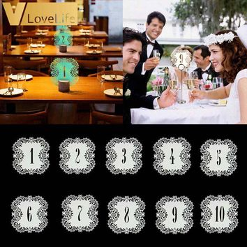 10pcs Wedding Table Number Table Cards 1-10 Hollow Laser Cut Card Numbers Vintage Wedding Decoration Event Party Supplies
