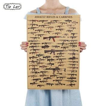 World Famous Gun Posters Military Fans Vintage Kraft Paper Decorative Wall Decor