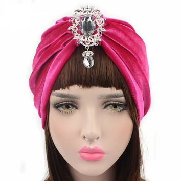 Velvet Turban Detachable Diamante Pendant Brooch Head Wrap