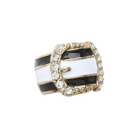 GUESS Striped Buckle Ring