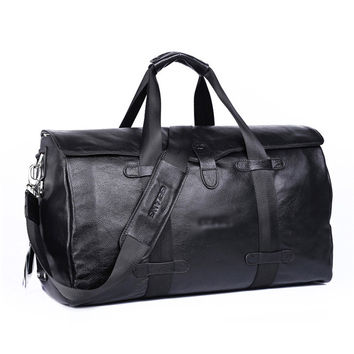 Top Quality Large Genuine Leather Bag Men Black Casual Soft Real 100% Cowhide Business Bag Versatile Luggage Duffle Travel Bag