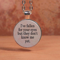 "Ed Sheeran ""I've Fallen For Your Eyes,"" Lyrics Song Poem Pendant Necklace Inspiration Jewelry"