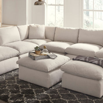 31102-64-77-46-3-65-08-2 8 pc Lotus savesto beige linen like fabric feather blend modular sectional sofa