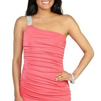 one shoulder all over glitter sequin tight club dress