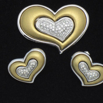 Vintage Jewelry Set Gold Silver Plated Heart Shaped Brooch Earrings Set