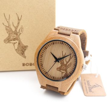Bamboo Wooden Bamboo Watch Quartz Real Leather Strap Men Watches With Gift Box