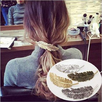 LMFIJ6 2017 Hot Selling Trendy Leaf Shape Barrettes Hairpin 4 Color Hair Claws Feather Hair Clip Women Hair Fashion Jewelry Cute Girls