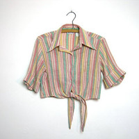 vintage 50s striped cropped belly shirt // button up with short sleeves
