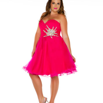 Mac Duggal 2013 Prom Dresses - Fuchsia Short Strapless Empire Waist Gown with Silver Rhinestones