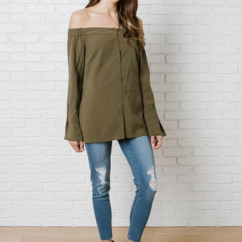 Sloane Off-The-Shoulder Button-Up Blouse