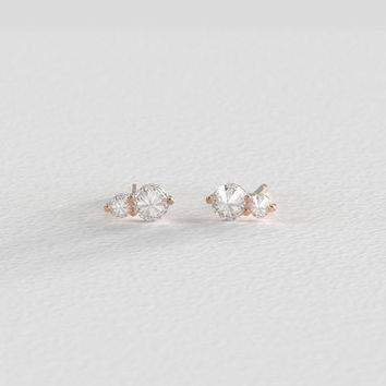 Rose Gold Diamond Pointe Set Vintage Style Stud Droplet Earrings