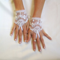 White Wedding gloves adorned beads french lace gloves bridal gloves lace gloves fingerless gloves white  lace free ship