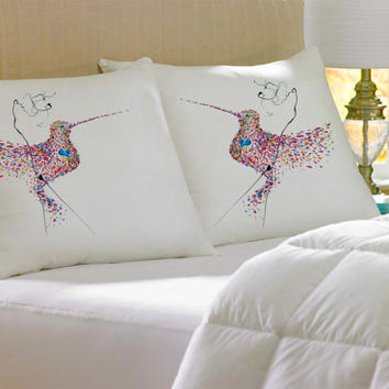 2 Colorful Decorative HummingBird silk Pillow case pillow cover pillowcase cushion handmade koby feldmos 18X18 inch 20X30 inch white color