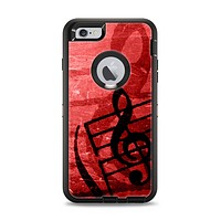 The Scratched Red Surface with Black Music Note Apple iPhone 6 Plus Otterbox Defender Case Skin Set
