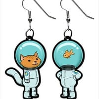 Hey Chickadee - Space Kitty and Captain Fish Earrings