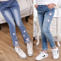 2017 spring children's clothes girls jeans causal slim thin denim baby girl jeans for girls big kids jeans long trousers