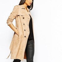 Lipsy Suedette Mac Coat With Belt