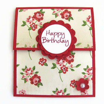 Rose Gift Card Holder, Happy Birthday, Gift Card, Gifts for Her, Red, Happy Birthday Gift Card Holder