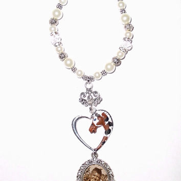 Wedding Bouquet Memorial Photo Charm Palomino Horse Oxidized Metal Pearls Tibetan Beads - FREE SHIPPING