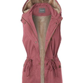 Anorak Fur Lined Hooded Vest Blush Mauve Pink