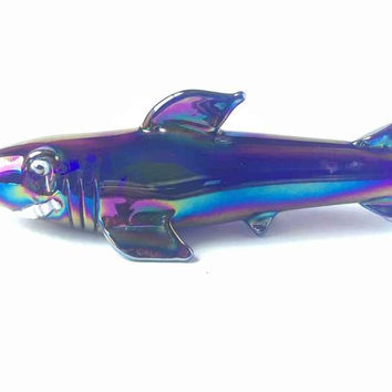 Iridescent Shark Animal Glass Pipe