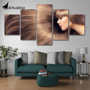 5 panel canvas painting hairdressing posters hair slaon make-up  Nail canvas wall art hair salon posters artwork barber poster