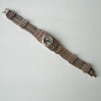 Pierre Nicol Marcasite Watch 7-Strand Chain Band Elegant Jewelry
