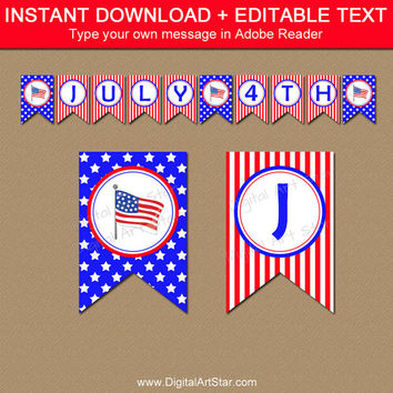 Printable Fourth of July Banner Template - Independence Day Party Decor - Red White and Blue USA Banner Patriotic Decor American Flag Banner