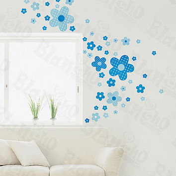 Polka Dot Flowers - Medium Wall Decals Stickers Appliques Home Decor