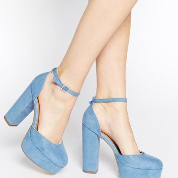 New Look Sound Blue Platform Heeled Shoes
