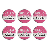 Annie Hello My Name Is Plastic Resin Button Set of 6