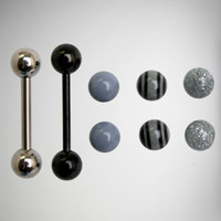 14 Gauge Black Grey Barbell with Extra Balls