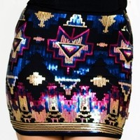 Midnight Aztec Skirt