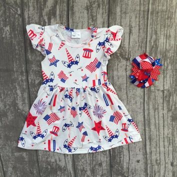 new arrival unicorn star 2018 July 4th dress Summer girl kids wear milk silk dress children boutique clothing with matching bow