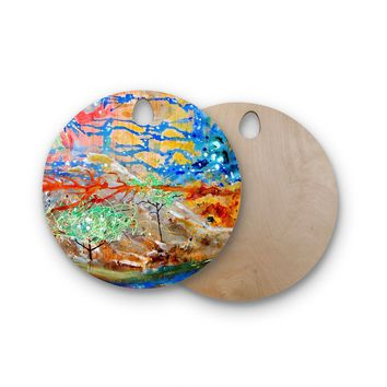 """Nathan Gibbs Art """"The Earth Shows Its End"""" Blue Orange Round Wooden Cutting Board"""