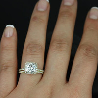 Pernella Classic 14kt Yellow Gold Thin Cushion FB Moissanite and Diamonds Halo Wedding Set (Other metals and stone options available)