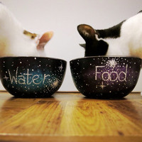 Hand painted galaxy food and water bowl set for cats or dogs