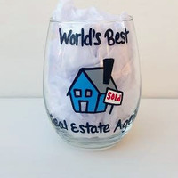 Real Estate Agent hand-painted stemless wine glass
